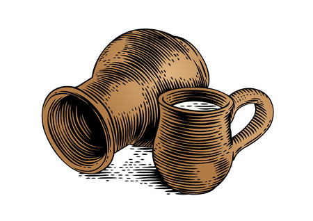 gravure: Drawing of a clay stein and clay crock with milk on the white Illustration