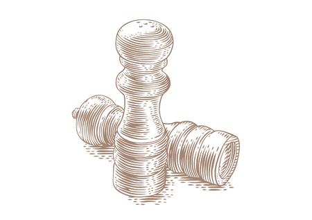 Tekening van de geïsoleerde houten zoutvaatje en de Peppermill