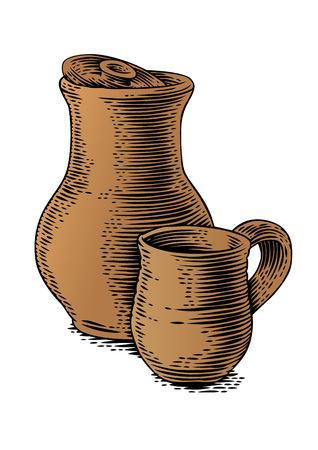 crock: Drawing of a clay stein and clay crock on the white Illustration