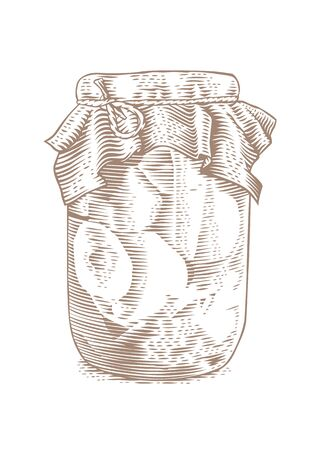 conserved: Drawing of glass jar with marinated tomatoes on the white background Illustration
