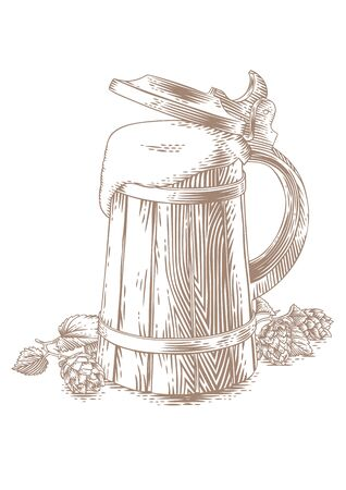 gravure: Drawing of wooden beer mug and hop on the white