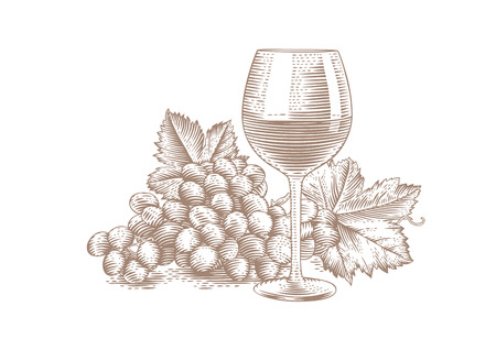 ブドウの束と赤ワインのグラスの図面