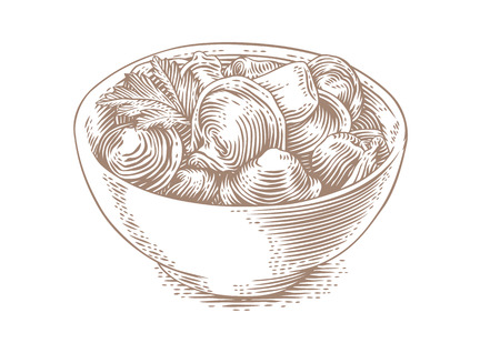 gravure: Drawing of dumplings with butter and fresh parsley in the white bowl