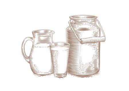 Dibujo de leche puede, jarra y vaso de leche en el blanco