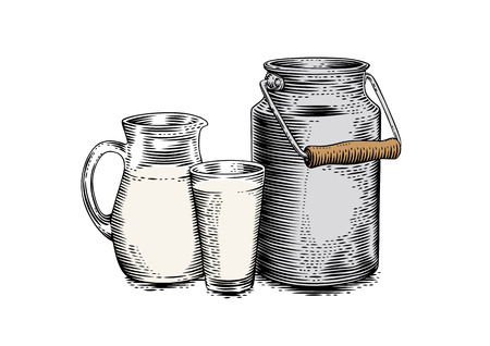 Drawing of milk can, jug and glass of milk on the white 矢量图像