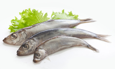 sprats: Handful of salted with spices sprats on the fresh green lettuce