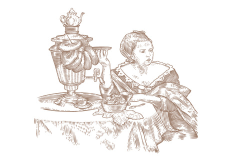 samovar: Drawing of woman drinking tea with bagels Illustration
