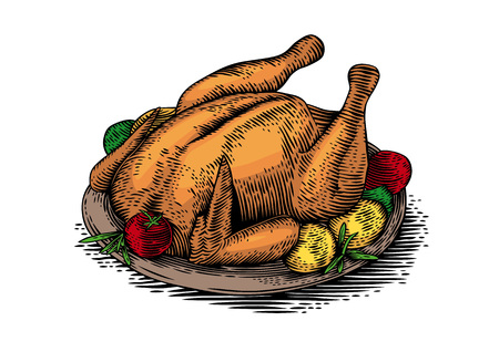 Drawing of baked chicken with vegatables on the brown plate