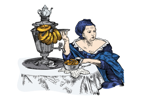 gravure: Drawing of woman drinking tea with bagels Illustration