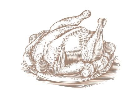 vegatables: Drawing of baked chicken with vegatables on the brown plate
