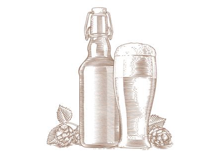 Dessin de la bouteille et le verre avec de la bière et hop'S cônes Vecteurs