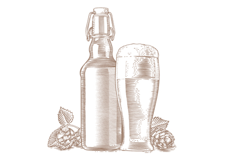 Disegno di bottiglia e bicchiere di birra e luppolo di coni