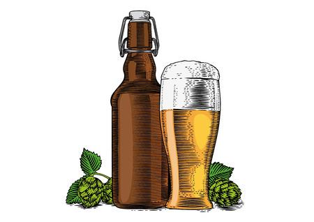 瓶とビールとホップの円錐ガラスの図面