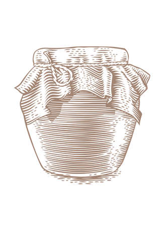 conserved: Drawing of glass jar with red jam on the white background Illustration