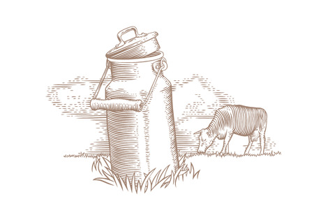 Drawing of metal milk can and grazing brown cow on the green grass
