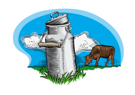 grazing: Drawing of metal milk can and grazing brown cow on the green grass