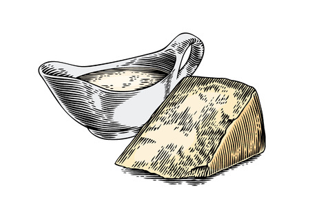 produce product: Drawing of cheese sauce in sauceboat and piece of hard cheese