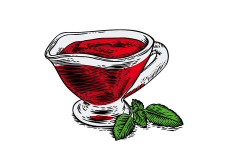 gravy: Drawing of glasses gravy boat with red tomato sauce and fresh green basil leaves Illustration