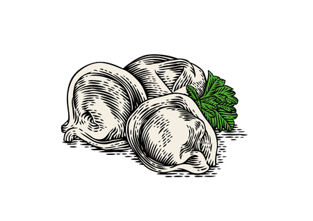 produce product: Drawing of handful of dumplings with fresh green parsley