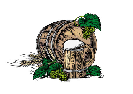 gravure: Drawing of wooden beer mug, wooden barrel, barley, and hop cones with leaves