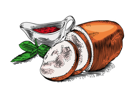 smoked: Drawing of pieces of smoked pork meat with fresh green basil and red tomato sauce in the sauce-boat