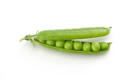 pea pod: Top view of fresh green pea pod with peas on the white background Stock Photo