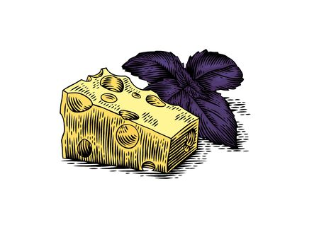 basil: Drawing of piece of cheese with purple basil