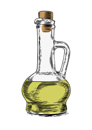 gravure: Drawing of glass bottle with oil on the white background