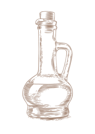 Drawing of glass bottle with oil on the white background