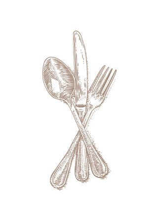Drawing of isolated cutlery on the white background Illustration