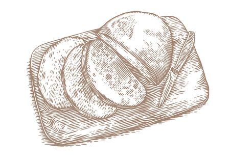 rye: Drawing of cutted rye bread with knife on the wooden board Illustration
