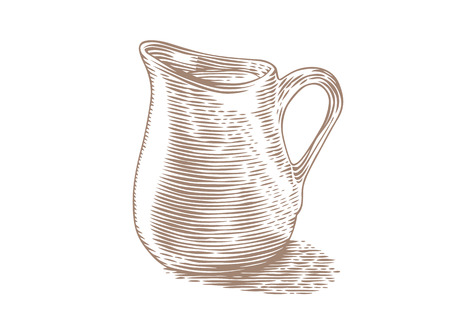 gravure: Drawing of small milk pitcher with milk on the white