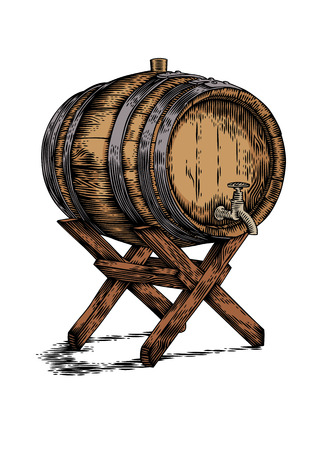 gravure: Drawing of wooden barrel with wine or beer on the wooden stand