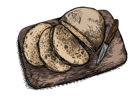 rye bread: Drawing of cutted rye bread with knife on the wooden board Illustration
