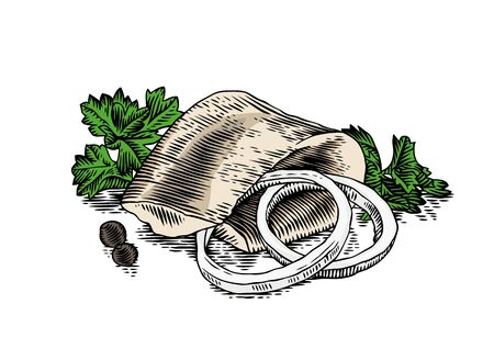 Folded piece of herring with onion ring, fresh green parsley and pepper Illustration