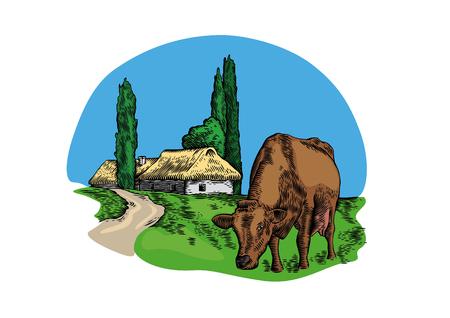 Dessin de la vache dans le village
