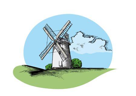 Tekening van landschap met stenen windmolen en cloud Vector Illustratie
