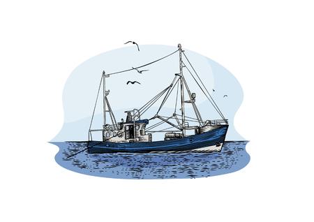 Drawing of fishing trawler at the sea