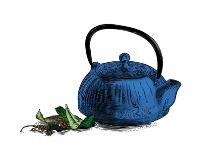 cast: Drawing of blue cast iron teapot with green and dried tea leaves
