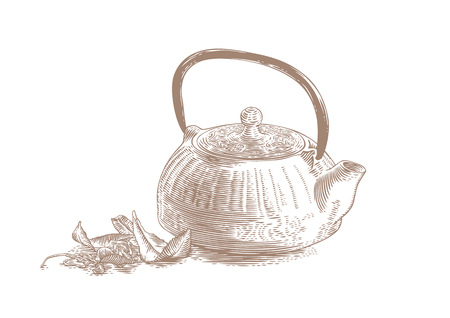 cast iron: Drawing of blue cast iron teapot with green and dried tea leaves