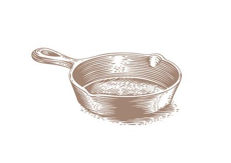 Drawing of black empty cast iron pan Illustration