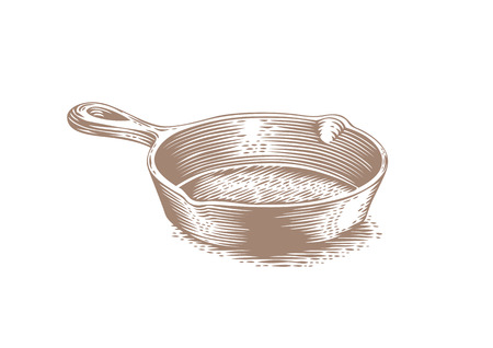 Drawing of black empty cast iron pan 일러스트