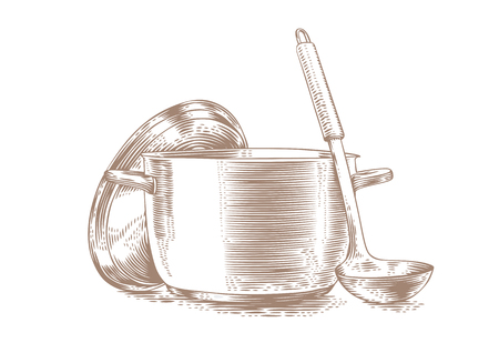 Drawing of metal pot with lid and ladle