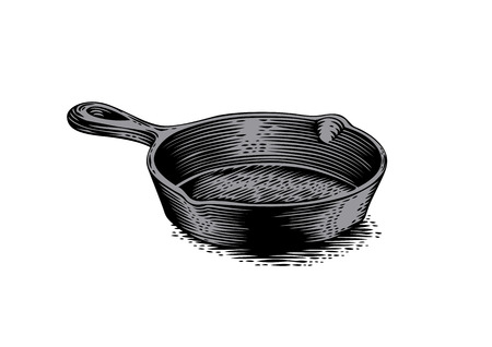 Drawing of black empty cast iron pan Vectores