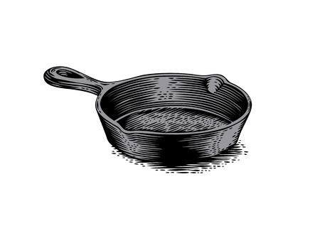 cast: Drawing of black empty cast iron pan Illustration