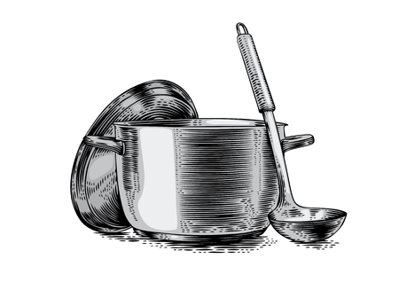 metal drawing: Drawing of metal pot with lid and ladle