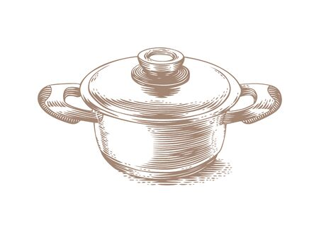 lid: Drawing of small metal pot with lid