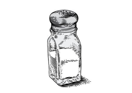 Tekening van geïsoleerde glas zoute schudbeker op het wit