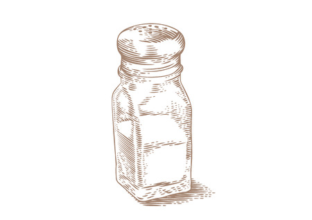 Drawing of isolated glass salt shaker on the white Illustration