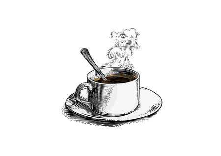 Drawing of cup of coffee with smoke over cup